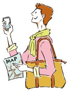 地図とスマフォを持った男